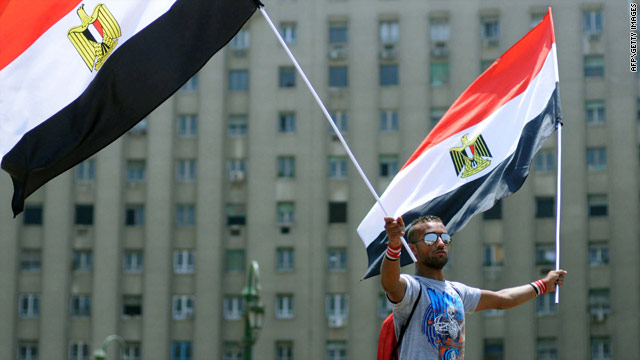 An Egyptian man protesting in Cairo's Tahrir Square on July 11, despite recent concessions made by Egypt's prime minister.