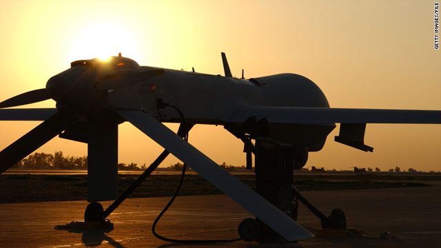 A photo provided by the U.S. Air Force of a Predator drone preparing for a mission in February 2004.