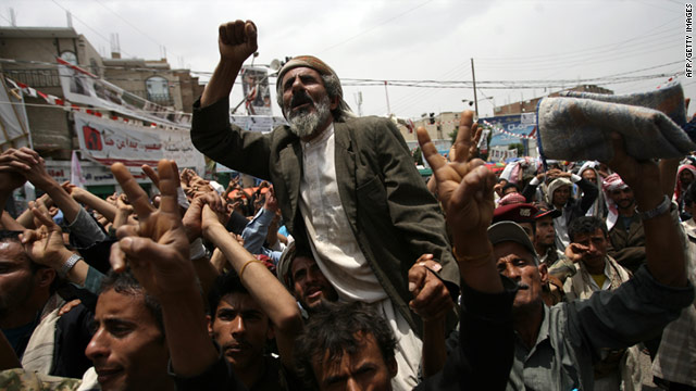 Anti-govenment protestors demonstrate in Sanaa on July 18 2011, the 33rd anniversary of Ali Abdullah Saleh's presidency