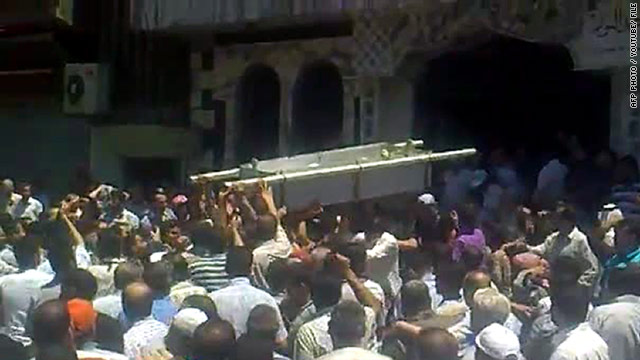 An image grab taken from a video posted on YouTube of the funeral of an anti-government protester in Homs, on June 22, 2011