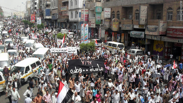 Yemenis march through Taiz on July 17, 2011 in what they called a 'day of rage' against President Ali Abdallah Saleh.