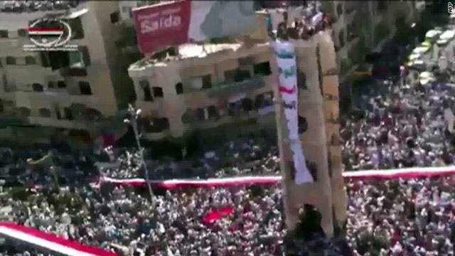 An image grab from an internet video, shows an anti-government demonstration in Hama, Syria on July 22, 2011.
