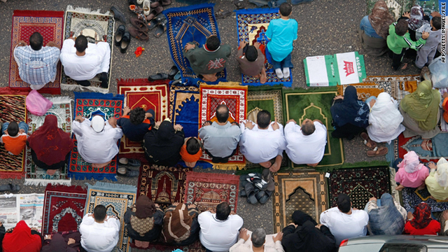 This file image, taken October 13, 2007, shows Egyptians praying in Cairo's streets during the holy month of Ramadan.