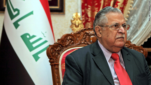 Iraqi President Jalal Talabani, pictured in this file photo taken December 22, 2010, said leaders agreed on a U.S. training mission.