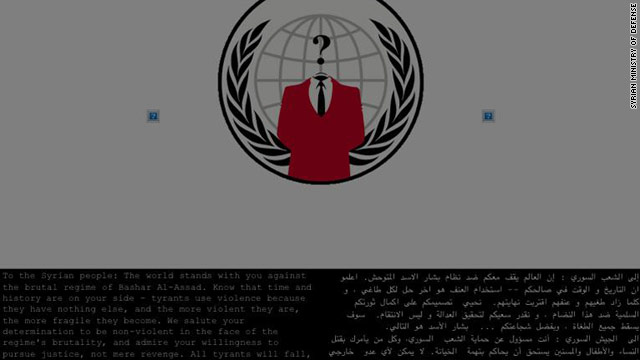 Syria's Ministry of Defense website was hacked and its content replaced by an anti-government government message.