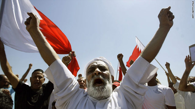 Bahraini Shiites chant slogans in the town of Sitra, situated outside the capital Manama on March 20, 2010.