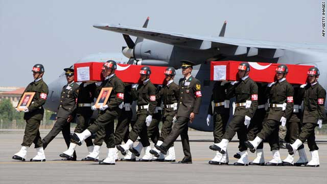 Turkish soldiers carry Thursday the coffins of soldiers who were killed in an attack by members of the Kurdistan Workers Party.