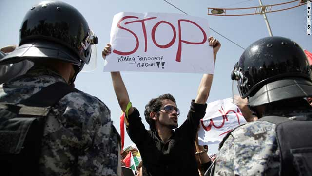 Iraqi Kurds protest against the Turkish bombardment of border villages outside the Turkish consulate in Arbil on August 24, 2011.