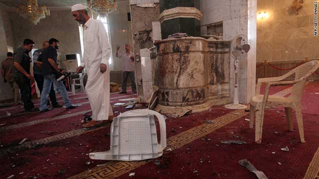 At least 28 people died after a suicide bombing attack in a Sunni mosque in Baghdad's Ghazaliya neighborhood late Sunday.