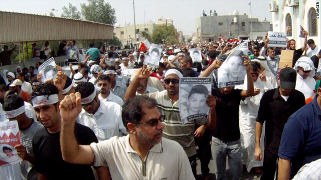 Protesters gather in Sitra, Bahrain, on Thursday, after a government statement denied responsibility for a young boy's death.