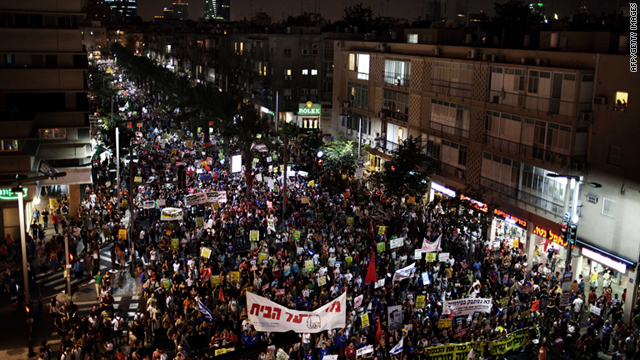 Hundreds of thousands in Tel Aviv turn out Saturday to protest rising housing prices and social inequalities.