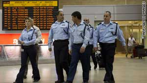 (file photo) Police officers at Israel's Ben Gurion Airport.