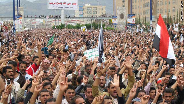 Yemeni opposition protesters take to the streets of Sanaa on September 9, 2011.