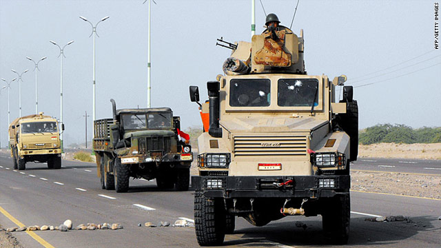 Yemeni troops patrol the streets after freeing Zinjibar, Abyan province, from al Qaeda suspects.