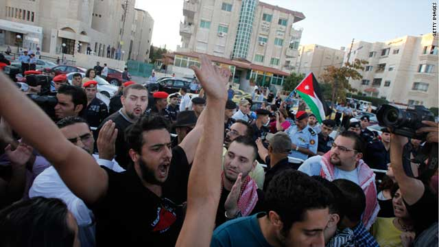 Protesters call for the closure of the Israeli Embassy in Amman, Jordan, on September 15, 2011.