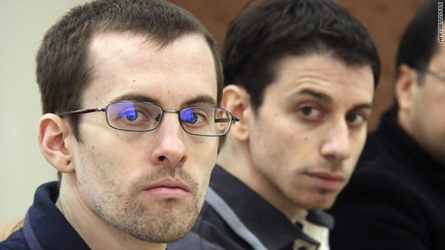 U.S. hikers Shane Bauer (L) and Josh Fattal (shown in February) are reportedly near to being released from prison.