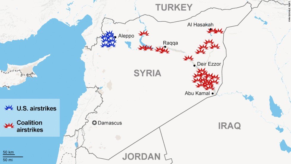 Arab Nations Join US Expand Fight Against Terror To Syria CNNcom - Horizontal us map