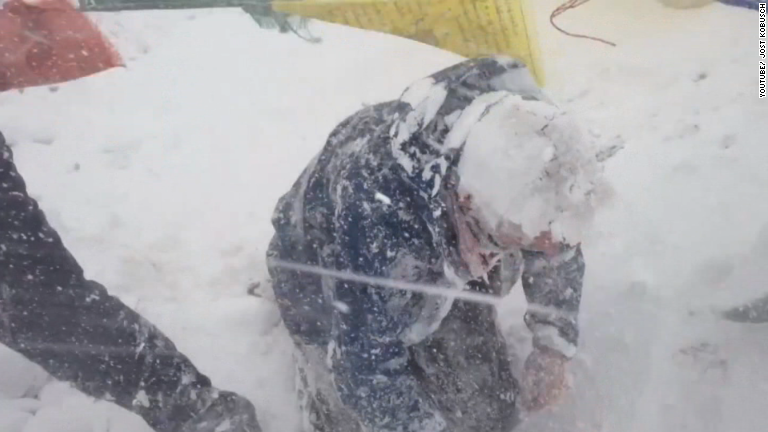 Video captures moment snow buries base camp