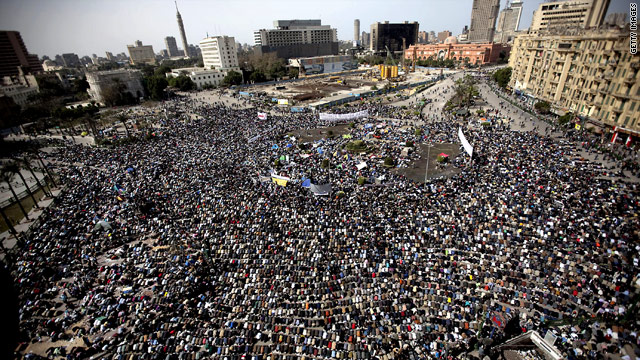 Prayer amid protest in Egypt
