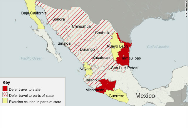 Us Broadens Mexico Travel Warning Cnncom - Us-and-mexico-map