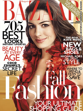 Anne Hathaway covers the August issue of Harper's Bazaar