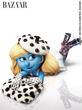 Smurfette models accessories in Harper's Bazaar