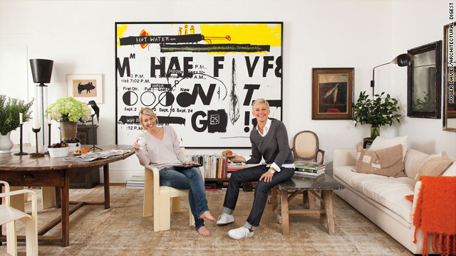 Ellen and Portia DeGeneres at home in Architectural Digest