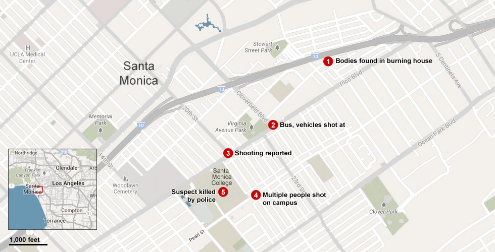 Map: Shooting in Santa Monica - CNN.com on palm springs map, ventura ca on a map, beverly hills map, culver city map, bel air map, detroit map, castaic lake campground map, raymond chandler map, anaheim map, burbank map, long beach map, west hollywood map, torrance transit map, la county map, cuenca-ecuador google map, philadelphia map, redondo beach map, venice beach ca map, santiago de cali colombia map, los angeles map,