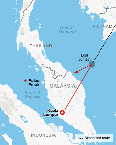 Map Malaysia Airlines Flight 370