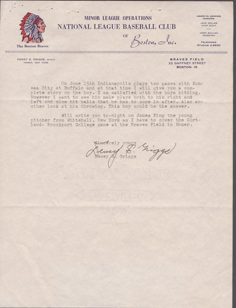 A letter from scout Dewey Griggs to Braves executive John Mullen detailing what he observed of how Hank Aaron played during a double header in May 1952, from the Richard A. Cecil Collection, Manuscript, Archives and Rare Book Library, Emory University (MARBL).