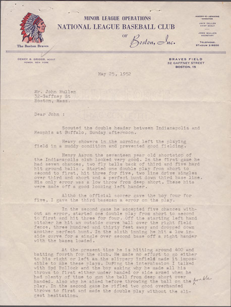A letter from scout Dewey Griggs to Braves executive John Mullen detailing what he observed of how Hank Aaron played during a double header in May 1952,  from the Richard A. Cecil collection, Emory University's Manuscript, Archives, and Rare Book Library (MARBL).