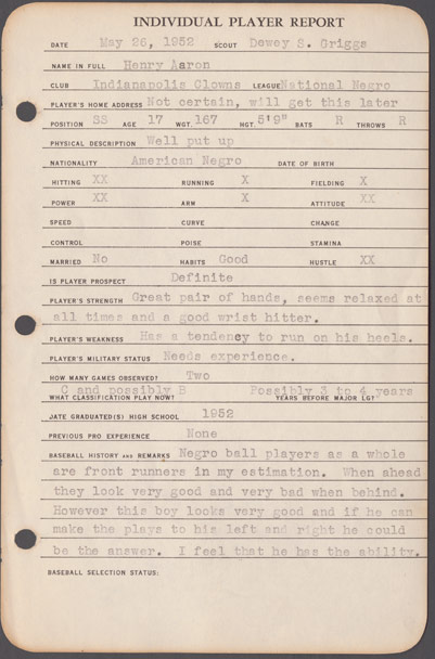 A report from Braves scout Dewey Griggs from the Richard A. Cecil Collection, Manuscript, Archives and Rare Book Library, Emory University (MARBL).