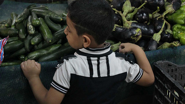 A little boy watches as his father selects vegetables from a stand at the Karrada market in central Baghdad.