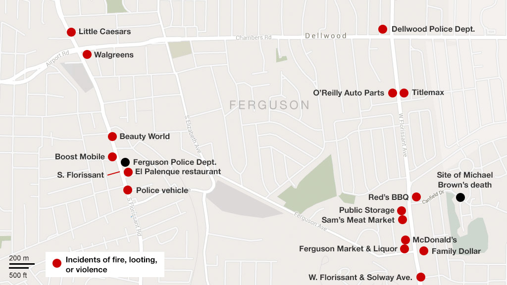 Map: Damage in Ferguson, Missouri on mi map, et map, iowa map, mei map, tn map, vt map, ri map, sd map, wv map, nee map, ma map, ak map, nh map, pa map, oklahoma map, state map, ks map, ar map, moscow map, ne map,