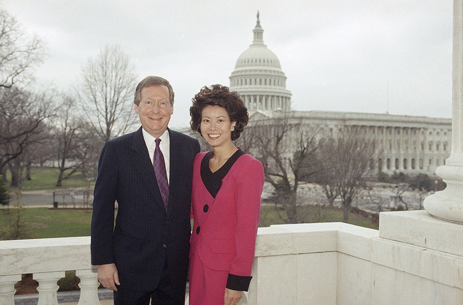 McConnell poses with then-United Way President Elaine Chao on Capitol Hill before their wedding in February 1993. Chao would become secretary of labor in the George W. Bush administration and will be a key surrogate in McConnell's campaign against Democratic opponent Alison Lundergan Grimes. (AP Photo/Shayna Brennan)