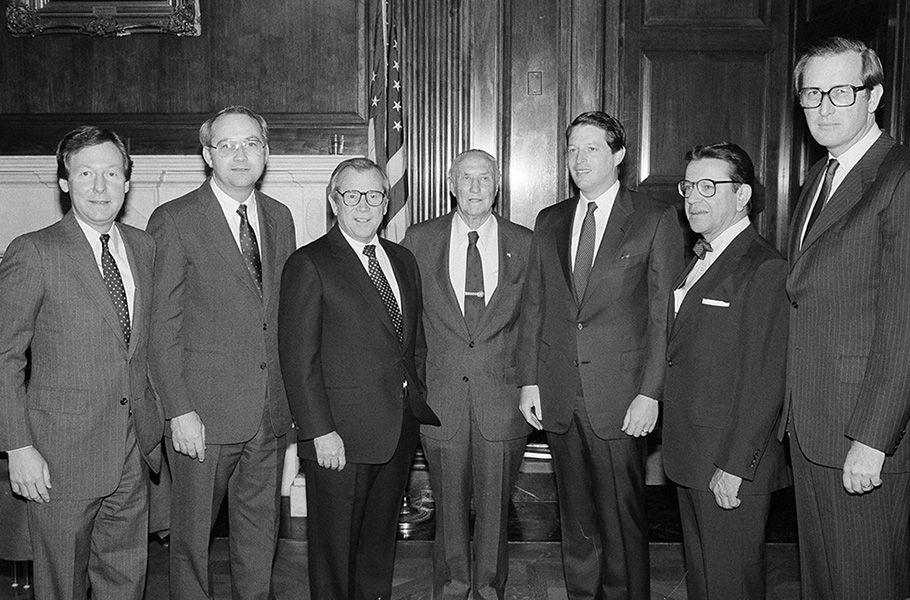 McConnell and four other newly elected senators pose with Senate Majority Leader Howard Baker, R-Tennessee, third from left, and Senate President Pro-Tem Strom Thurmond, R-South Carolina, center, in November 1984. With McConnell are, from left, Phil Gramm, R-Texas, Baker, Thurmond, Al Gore, D-Tennessee, Paul Simon, D-Illinois, and Jay Rockefeller, D-West Virginia. McConnell narrowly beat Democratic incumbent Walter Huddleston, boosted by a series of ads produced by Roger Ailes, then McConnell's media adviser. (AP Photo/Ira Schwarz)