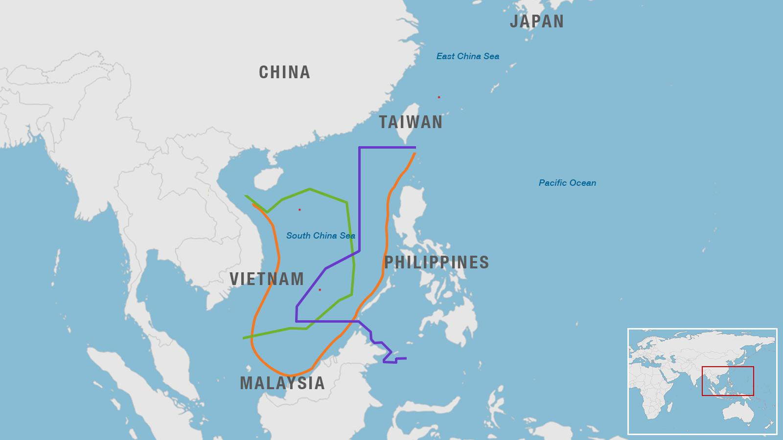 Map of South China Sea region