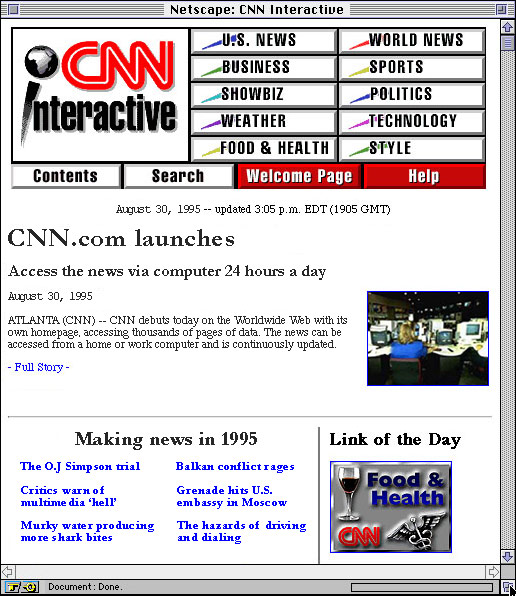 CNN.com homepage from 1995