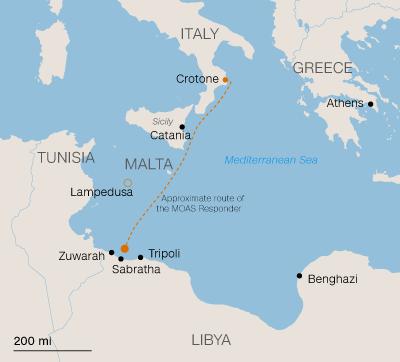route migrants italie