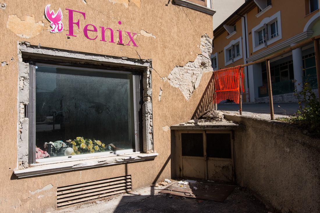 An abandoned shopfront on the south end of L'Aquila where damage was concentrated in student housing.