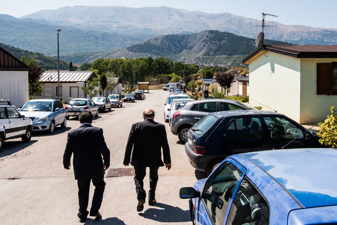 Two men stroll down the thoroughfare of Friuli Venezia Giulia, where the community of Fossa has relocated.