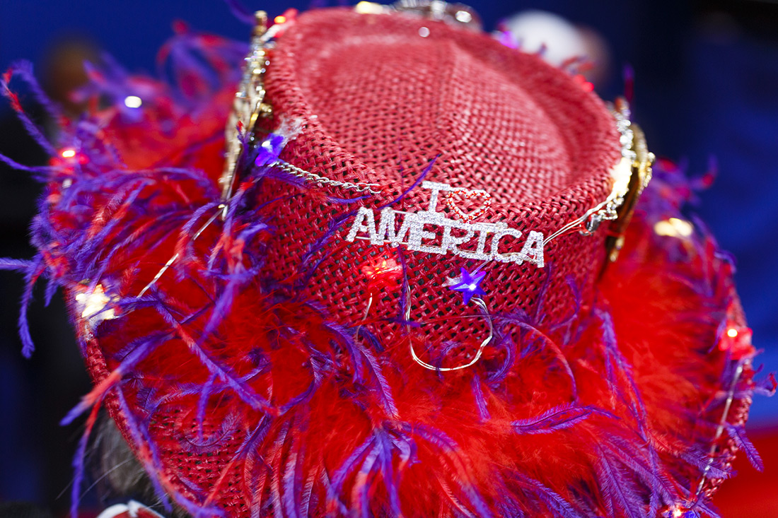 A patriotic hat at the Republican National Convention in Cleveland.