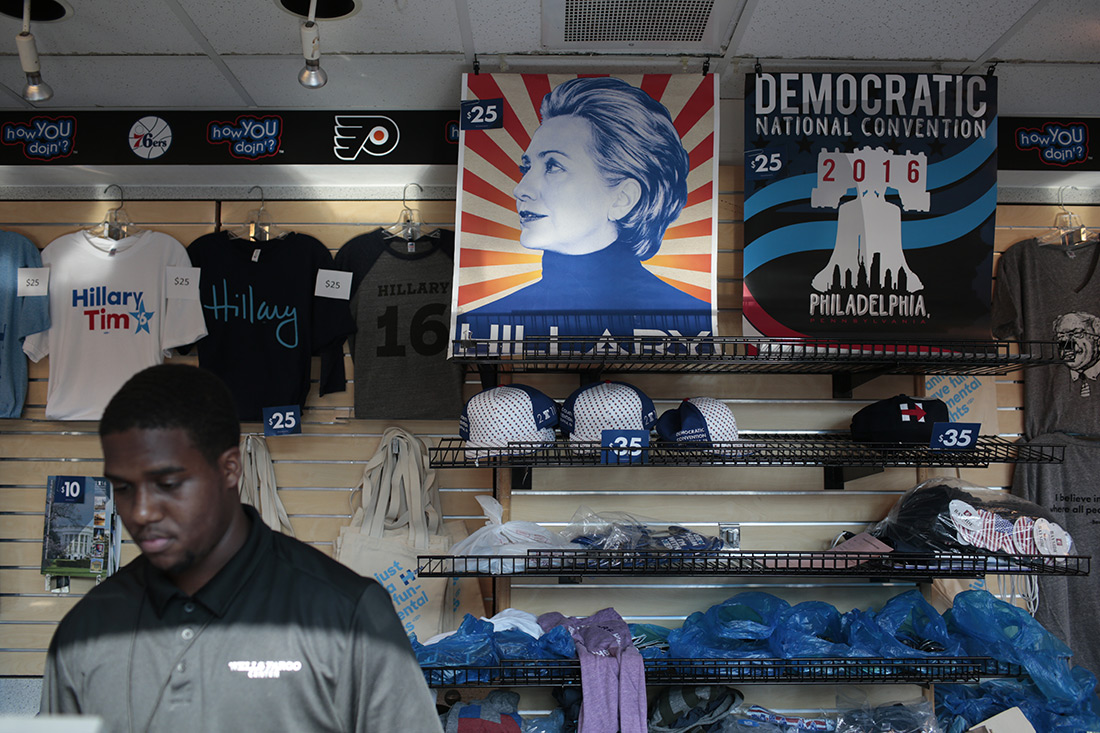 Merchandise at the Democratic National Convention in Philadelphia.