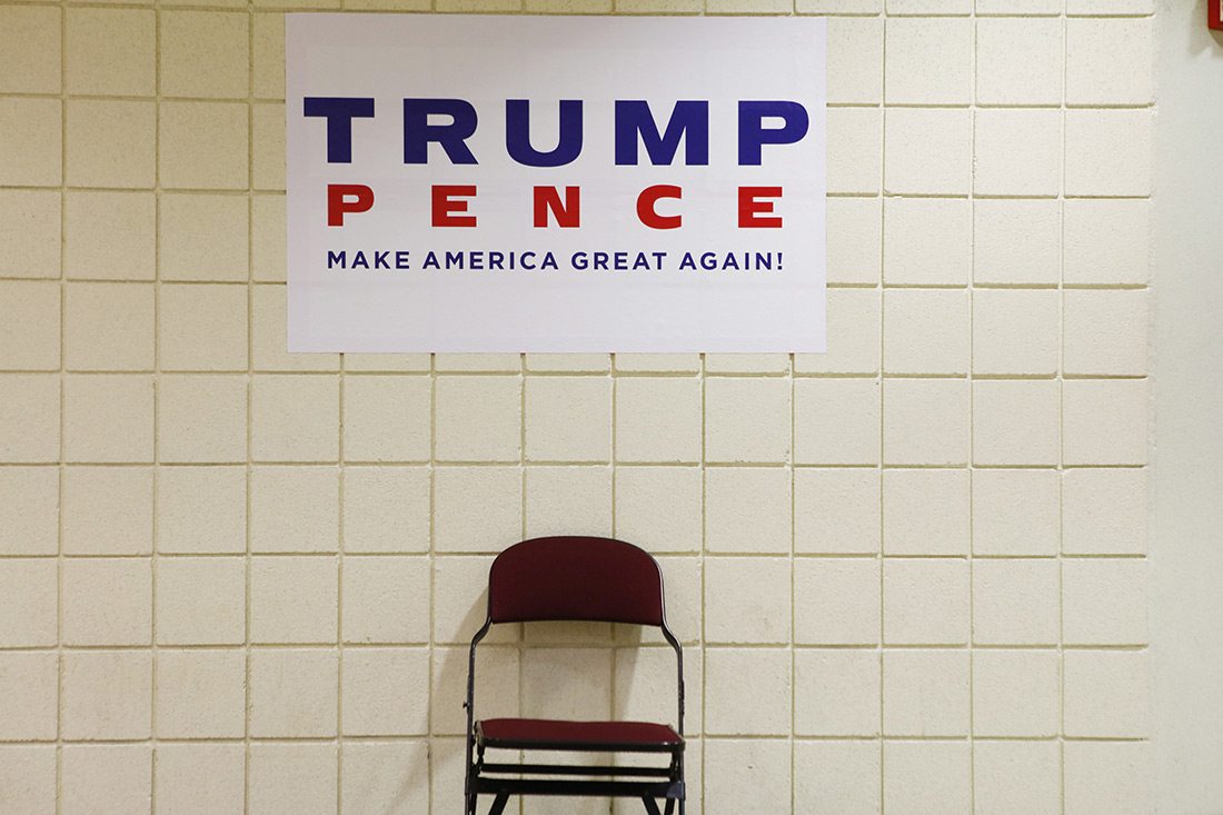 A Trump-Pence sign at the Republican convention.