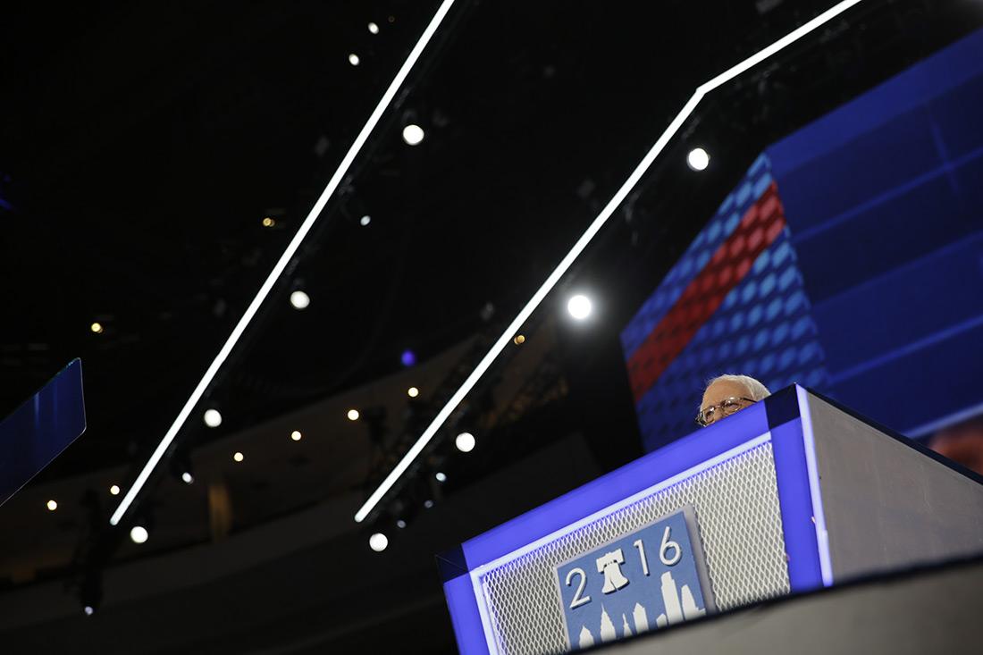Bernie Sanders speaks at the Democratic National Convention.