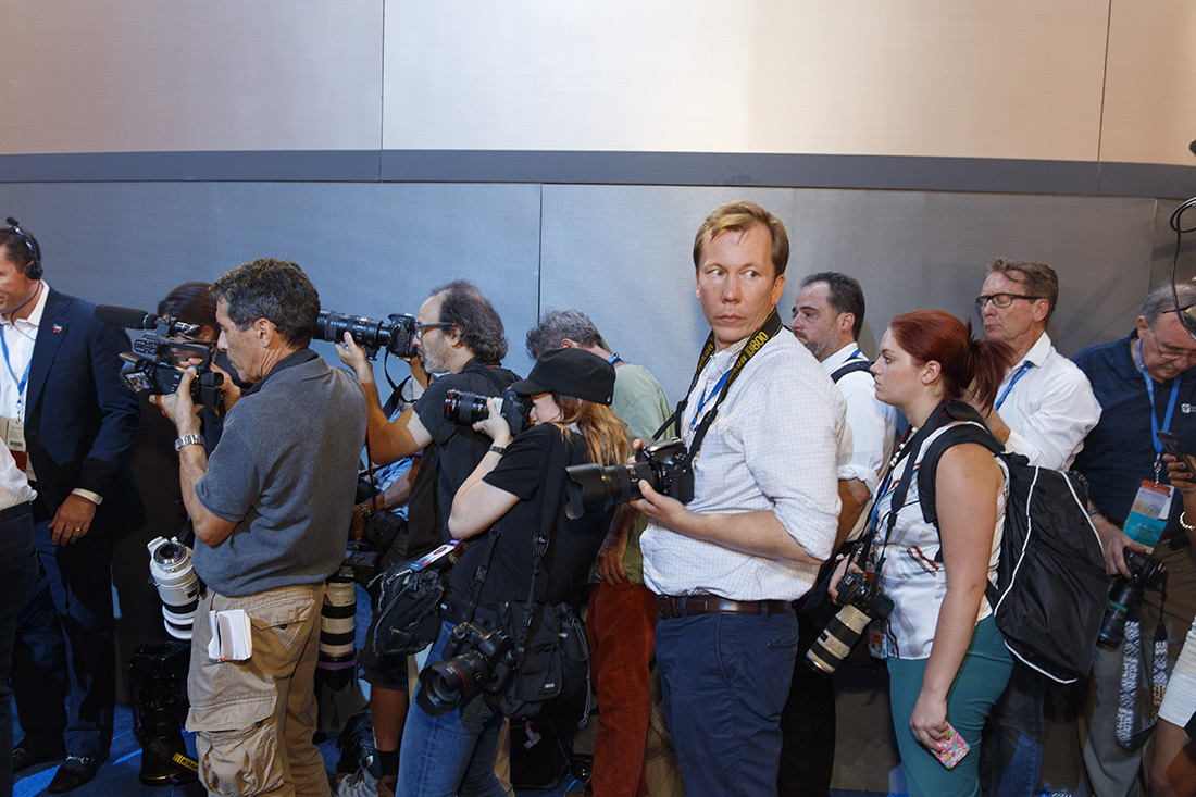 Photographers at the Democratic convention.
