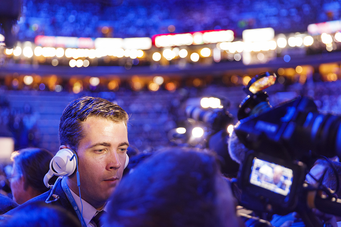 Broadcasting at the Democratic convention.