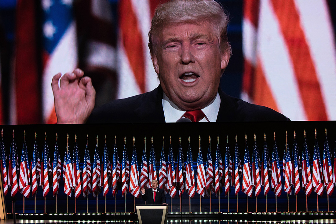 Republican nominee Donald Trump speaks to the crowd in Cleveland.