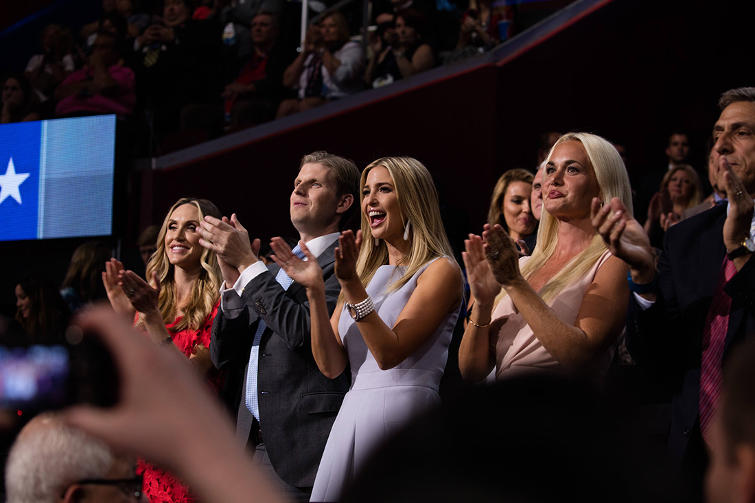Trump's family cheers as Trump's daughter Tiffany gives a speech.