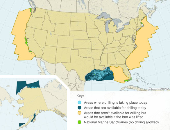Where Is Offshore Drilling Allowed CNNcom - Map of us with drilling locations